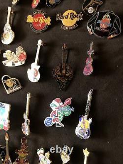 Hard Rock Cafe 50 Worldwide Assorted Pins Rare Lot! Guitar Drums Cars Vintage