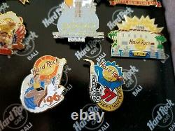 Hard Rock Cafe Bali Pins Nouvel An 7 Pin Set In Box En Bois Rare Très Rarement Vu