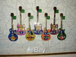Hard Rock Cafe Californie 1999 Interstate 5 (i-5) Ensemble Complet De 7 Guitare Pins