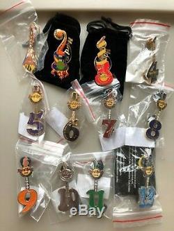 Hard Rock Cafe Collectors Club Membership Guitar 12 Épingles 2000-2012 Ensemble Complet