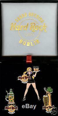 Hard Rock Cafe Dublin, Grand Ouvert'04. Jeu De Broches 3 Broches. Avec Box. Rare
