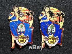 Hard Rock Cafe Guam États-unis Landmark Flag Girl Série 1ère Et 2ème Édition Pin Set