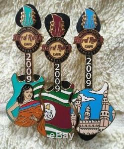 Hard Rock Cafe Hyderabad Grand Opening 3 Guitar Puzzle Set Pin Le100