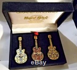 Hard Rock Cafe Lisbonne Grande Ouverture 3 Pin Guitares Tile Set Dans Boîte D'origine 2003