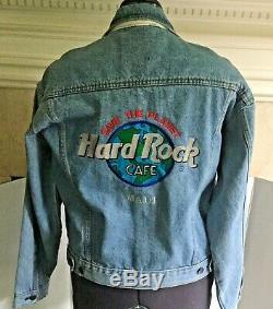 Hard Rock Cafe Maui Brodé Denim Jean Veste Collector Pins Hawaii Mens Med