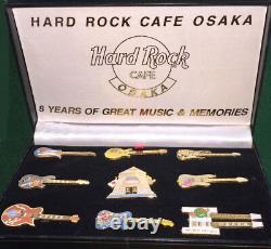 Hard Rock Cafe Osaka Japon 2001 Cafe Closing Boxed Set 9 Pins Withcoa Le 500 #7020