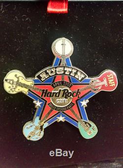 Hard Rock Cafe Pin Austin 2002 Ouverture Officielle Staff Sheriff Guitar Badge