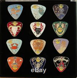 Hard Rock Cafe Taipei 1990 Rare Boxed Set De 12 Zodiac Guitar Pick-pins # 9602