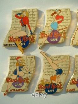 Lot De 12 Épingles Mois De L'annee 1999 Hard Rock Cafe Pin'up