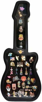Nouveau Hard Rock Cafe Guitar Shaped Boîtier Noir Pour Pins! 31 X 12,6 X 2,2