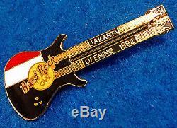 Rare 1992 Jakarta Inauguration Noir Double Col Flag Guitar Hard Rock Cafe Pin