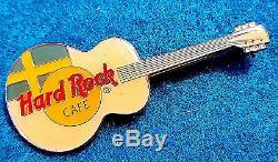 Rare Stockholm Suede Drapeau Blanc Acoustique Émail Mesh Guitar Hard Rock Cafe Pin